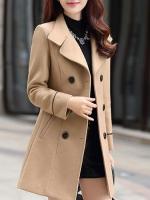 เสื้อโค้ทกันหนาวผู้หญิง สีกากี คอปก แต่งเว้าสวย ตัวยาวคลุมสะโพก