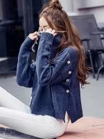 เสื้อไหมพรมแฟชั่นกันหนาว เสื้อสเวตเตอร์คอเต่า สีน้ำเงิน แขนยาว ดีไซน์เท่ เก๋สุดๆ