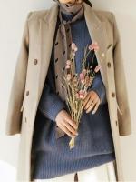 เสื้อโค้ทกันหนาวผู้หญิง สีกากี ยาวคลุมเข่า ใส่เที่ยวต่างประเทศสวยๆ