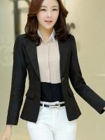 เสื้อสูทผู้หญิง เสื้อสูทแฟชั่น สีดำ แขนยาว คอปก เนื้อผ้ามันวาว เนี๊ยบๆ