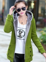 เสื้อกันหนาวผู้หญิงแฟชั่นเกาหลี สีเขียว แจ็คเก็ตมีฮู้ด ซับบุขนสัตว์
