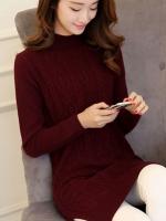 เสื้อไหมพรมแฟชั่นกันหนาว เสื้อสเวตเตอร์ สีไวน์แดง ดีเทลลายถักลูกโซ่ สไตล์สาวหวาน สุดคิ้วท์