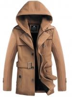 เสื้อกันหนาวผู้ชาย เสื้อแจ็คเก็ตผู้ชายมีฮู้ด ถอดได้ สีกากี มาพร้อมเข็มขัด