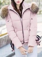 เสื้อกันหนาวผู้หญิงแฟชั่นเกาหลี สีชมพู แจ็คเก็ตมีฮู้ด พร้อมเฟอร์ขนสัตว์ ชายเสื้อเล่นระดับ ดีไซน์เก๋ๆ