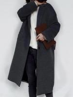เสื้อโค้ทกันหนาวผู้หญิง สีดำ ยาวคลุมเข่า ผ้า Woolen ใส่เที่ยวรับลมหนาว ต่างประเทศ
