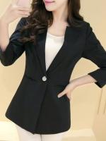 เสื้อสูทผู้หญิง เสื้อสูทแฟชั่น สีดำ แขนสี่ส่วน คอวี แต่งเว้าคอเสื้อ ยาวคลุมสะโพก