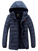 เสื้อกันหนาวผู้ชาย เสื้อแจ็คเก็ตผู้ชายมีฮู้ด ถอดได้ สีกรมท่า ซับขนสัตว์อุ่นๆ