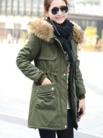 เสื้อกันหนาวผู้หญิงแฟชั่นเกาหลี สีเขียวทหาร แจ็คเก็ตมีฮู้ด มีเฟอร์ขนสัตว์ ถอดได้ หนาวๆ เอาอยู่