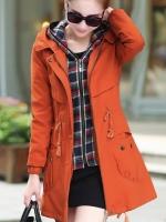 เสื้อกันหนาวผู้หญิงแฟชั่นเกาหลี สีส้ม แจ็คเก็ตกันลมฮู้ดลายสก๊อต