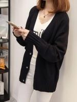 เสื้อคลุมไหมพรมคาร์ดิแกน เสื้อคลุมผู้หญิงแฟชั่นสวยๆ แขนยาว สีดำ แบบติดกระดุม