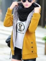 เสื้อกันหนาวผู้หญิงแฟชั่นเกาหลี สีเหลืองส้ม แจ็คเก็ตมีฮู้ด ซับบุขนสัตว์