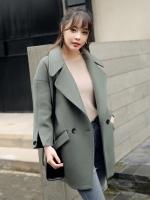 เสื้อโค้ทกันหนาวผู้หญิง สีเขียวอมเทา ยาวคลุมสะโพก ซับในบุนุ่ม ใส่เที่ยวต่างประเทศสวยๆ