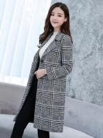 เสื้อโค้ทกันหนาวผู้หญิง สีเทา ลายสีดำ คอปก ตัวยาว เรียบหรูดูดี ใส่เที่ยวต่างประเทศ สวยๆ