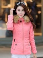 เสื้อกันหนาวผู้หญิงแฟชั่นเกาหลี สีชมพู แจ็คเก็ตมีเฟอร์ขนสัตว์ รอบฮู้ด แบบถอดได้ ใส่ลุยหิมะ สวยๆ