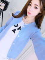 เสื้อคลุมไหมพรมคาร์ดิแกน เสื้อคลุมผู้หญิงแฟชั่นสวยๆ แขนยาว สีฟ้า แต่งกระดุมหลอก