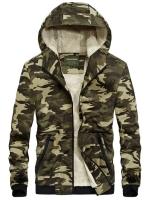 เสื้อกันหนาวผู้ชาย เสื้อแจ็คเก็ตผู้ชายมีฮู้ดบุขน ลายพรางทหารสีกากี