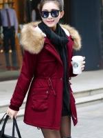 เสื้อกันหนาวผู้หญิงแฟชั่นเกาหลี สีไวน์แดง แจ็คเก็ตมีฮู้ด มีเฟอร์ขนสัตว์ ถอดได้ หนาวๆ เอาอยู่