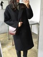 เสื้อโค้ทกันหนาวผู้หญิง สีดำ โค้ทยาว ซับในบุ ใส่เที่ยวต่างประเทศ สวยๆ