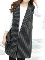 เสื้อสูทผู้หญิง เสื้อสูทแฟชั่น แขนกุด สีดำ ลายทาง คอปก ตัวยาว แต่งกระดุม
