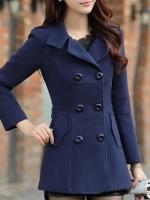 เสื้อโค้ทกันหนาวผู้หญิง สีกรมท่า ตัวสั้น คลุมสะโพก ใส่เที่ยวต่างประเทศสวยๆ