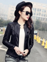 เสื้อแจ็คเก็ตหนังผู้หญิง แฟชั่นเกาหลี สีดำ แจ็คเก็ตหนัง PU คอจีน ลุคแนวๆ มีสไตล์สุดๆ