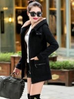 เสื้อกันหนาวผู้หญิงแฟชั่นเกาหลี สีดำ แจ็คเก็ตมีฮู้ด ซับบุขนสัตว์ ยาวคลุมสะโพก