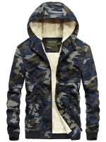 เสื้อกันหนาวผู้ชาย บอมเบอร์แจ็คเก็ตผู้ชายมีฮู้ดบุขน ลายพรางทหารสีกรมท่า