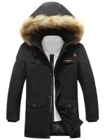 เสื้อกันหนาวผู้ชาย เสื้อแจ็คเก็ตผู้ชายมีฮู้ดติดเฟอร์ เท่ๆ สีดำ ซับบุอุ่นๆ