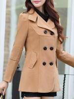 เสื้อโค้ทกันหนาวผู้หญิง สีกากี ตัวสั้น คลุมสะโพก ใส่เที่ยวต่างประเทศสวยๆ