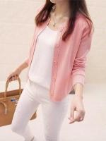 เสื้อคลุมไหมพรมคาร์ดิแกน เสื้อคลุมผู้หญิงแฟชั่นสวยๆ แขนยาว สีชมพู แต่งกระดุมหลอก