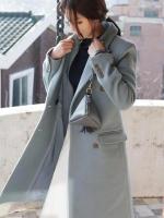 เสื้อโค้ทกันหนาวผู้หญิง สีฟ้า ตัวยาวคลุมเข่า ใส่เที่ยวต่างประเทศสวยๆ