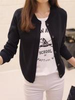 เสื้อคลุมไหมพรมคาร์ดิแกน เสื้อคลุมผู้หญิงแฟชั่นสวยๆ แขนยาว สีดำ แต่งกระดุมหลอก