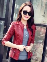 เสื้อแจ็คเก็ตหนังผู้หญิง แฟชั่นเกาหลี สีไวน์แดง แจ็คเก็ตหนัง PU คอจีน ลุคแนวๆ มีสไตล์สุดๆ