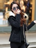 เสื้อกันหนาวผู้หญิงแฟชั่นเกาหลี สีดำ แจ็คเก็ตมีเฟอร์ขนสัตว์ รอบฮู้ด แบบถอดได้ ใส่ลุยหิมะ สวยๆ