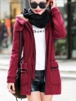 เสื้อกันหนาวผู้หญิงแฟชั่นเกาหลี สีไวน์แดง แจ็คเก็ตมีฮู้ด ซับบุขนสัตว์ ยาวคลุมสะโพก