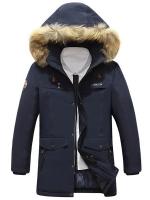 เสื้อกันหนาวผู้ชาย เสื้อแจ็คเก็ตผู้ชายมีฮู้ดติดเฟอร์ เท่ๆ สีกรมท่า ซับบุอุ่นๆ