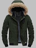 เสื้อกันหนาวผู้ชาย เสื้อแจ็คเก็ตผู้ชายมีฮู้ดถอดได้ สีเขียวทหาร ซับขน จั๊มข้อมือ และเอว
