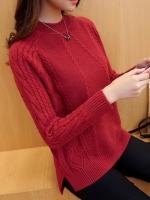 เสื้อไหมพรมแฟชั่นกันหนาว เสื้อสเวตเตอร์ สีแดง คอปิด แขนยาว ดีไซน์ลายถัก หวานๆ