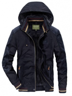เสื้อกันหนาวผู้ชาย เสื้อแจ็คเก็ตผู้ชายมีฮู้ด สีกรมท่า คอปีน ซับขนสัตว์ เท่ๆ จั้มข้อมือ และเอว