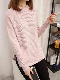 เสื้อไหมพรมแฟชั่นกันหนาว เสื้อสเวตเตอร์คอกลม สีชมพู แขนยาว ยาวคลุมสะโพก น่ารัก