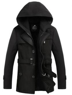 เสื้อกันหนาวผู้ชาย เสื้อแจ็คเก็ตผู้ชายมีฮู้ด ถอดได้ สีดำ มาพร้อมเข็มขัด