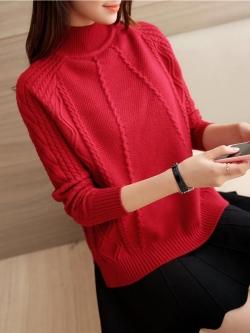 เสื้อไหมพรมแฟชั่นกันหนาว เสื้อสเวตเตอร์ สีแดง แขนยาว ดีเทลลายถักลูกโซ่ ใส่กันหนาวได้