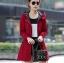 เสื้อกันหนาวผู้หญิงแฟชั่นเกาหลี สีแดง แจ็คเก็ตกันลมฮู้ดลายสก๊อต thumbnail 1