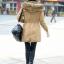 เสื้อกันหนาวผู้หญิงแฟชั่นเกาหลี สีกากี แจ็คเก็ตมีฮู้ด มีเฟอร์ขนสัตว์ ถอดได้ หนาวๆ เอาอยู่ thumbnail 3