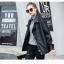 เสื้อแจ็คเก็ตหนังผู้หญิง แฟชั่นเกาหลี สีดำ แจ็คเก็ตหนัง PU คอปก แนว Oversize เท่ๆ thumbnail 3