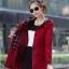 เสื้อกันหนาวผู้หญิงแฟชั่นเกาหลี สีแดง แจ็คเก็ตกันลมฮู้ดลายสก๊อต thumbnail 4