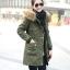 เสื้อกันหนาวผู้หญิงแฟชั่นเกาหลี สีเขียวทหาร แจ็คเก็ตมีฮู้ด มีเฟอร์ขนสัตว์ ถอดได้ หนาวๆ เอาอยู่ thumbnail 1
