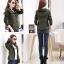 เสื้อกันหนาวผู้หญิงแฟชั่นเกาหลี สีเขียวทหาร แจ็คเก็ตมีฮู้ด ตกแต่งลายจุด สวยๆ thumbnail 2