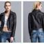 เสื้อแจ็คเก็ตหนังผู้หญิง แฟชั่นเกาหลี สีดำ แจ็คเก็ตหนัง PU ตัวสั้น คอปก ชิคๆ คูลๆ thumbnail 3