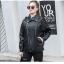 เสื้อแจ็คเก็ตหนังผู้หญิง แฟชั่นเกาหลี สีดำ แจ็คเก็ตหนัง PU คอปก แนว Oversize เท่ๆ thumbnail 2